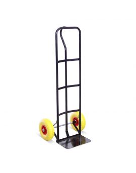 High Back P-Handle Industrial Steel Sack Truck - with Anti Puncture Tyres and 325kg Load Capacity (Black, Blue, Red)