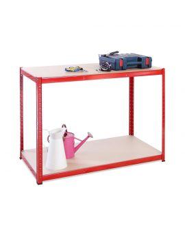 120cm Wide, 60cm deep, 90cm High, Red Workbench, 300KG Per Shelf Capacity