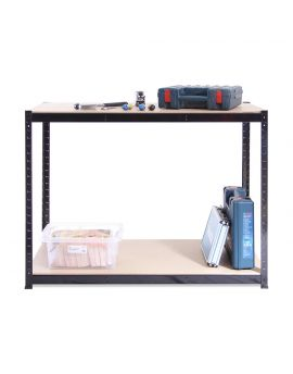 120cm Wide, 60cm deep, 90cm High, Black Workbench, 300KG Per Shelf Capacity