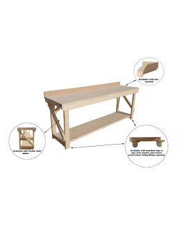 Kiln-dry Wooden Workbench With 10cm Rear And Side MDF Upstands - 4Ft to 8Ft - Heavy Duty