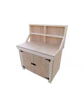 Wooden Work Bench 18mm Eucalyptus Hardwood Ply Top With Lockable Cupboard