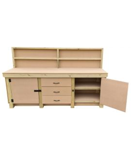 Wooden MDF Top Workbench With Drawers and Double Lockable Cupboard