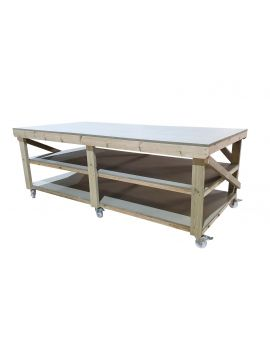 Wooden uniMDF Top Workbench with Wheels 3ft and 4ft Depth - 18mm uniMDF Moisture Resistant Top