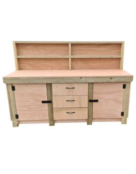 Wooden Eucalyptus Top Workbench With Drawers and Double Lockable Cupboard