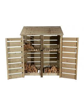 Slatted Wooden Log Store 4Ft or 6Ft (1.49m³ / 2.1m³ capacity) (W-146cm, H-126cm / 180cm, D-81cm)