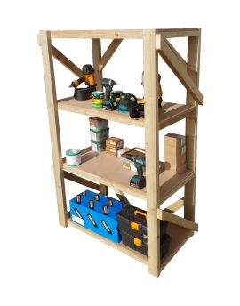 Wooden MDF Garage Shelving Unit, 4 Tier EXTRA Heavy-Duty Racking