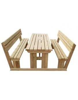 Alders Picnic Table Benches Set With Back Rest