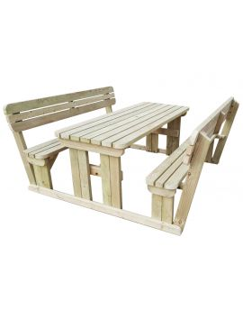 Alders Rounded Picnic Table Benches Set With Back Rest
