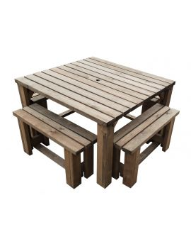 QUADRUM - Space Saving Picnic Table With 4 Benches