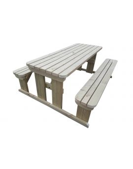 Abies Rounded Picnic Table Benches Set