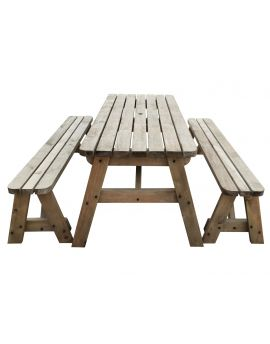 VICTORIA Rounded Picnic Table & Benches Set