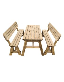 Victoria Rounded Picnic Table and Bench Set With Back-Rest