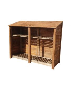 Wooden Log Store 4Ft or 6Ft (2.3m³ / 3.3m³ capacity) (W-227cm, H-126cm / 180cm, D-81cm)