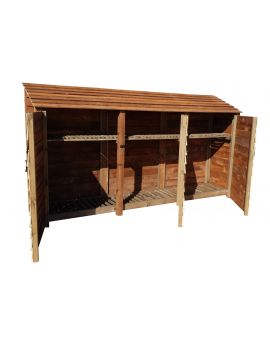 Wooden Log Store 4Ft or 6Ft (3.4m³ / 4.9m³ capacity) (W-335cm, H-126cm / 180cm, D-81cm)