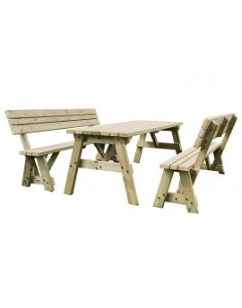 Victoria Picnic Table & Benches Set With Back Rest