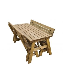 Victoria Compact Picnic Table and Benches Set With Back Rest