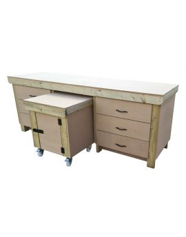 Wooden Work Bench With Drawers and Functional Lockable Cupboard