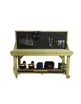 Wooden Pressure Treated Workbench With Peg Board - 46 piece peg kit INCLUDED!!