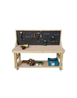 Wooden MDF Top Workbench With Peg Board - 46 piece peg kit INCLUDED!!