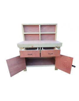 Wooden Workbench Eucalyptus Hardwood Top With Storage Drawers and Lockable Cupboard