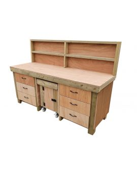 Wooden Work Bench With Drawers and Functional Lockable Cupboard - Eucalyptus top