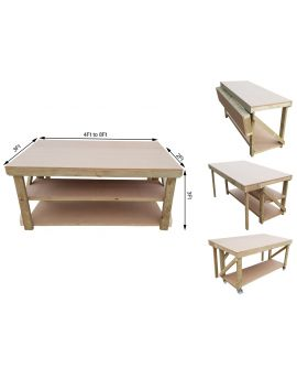Wooden MDF Top Workbench With Extendable Working Surface To 3ft Depth