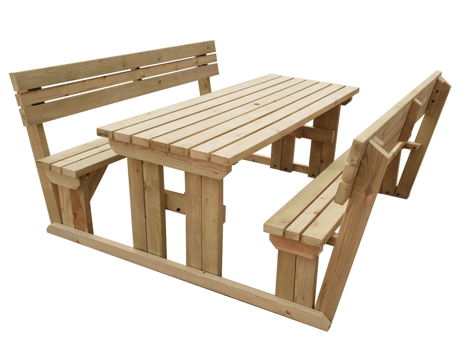Picnic Table And Bench Set Wooden Garden Furniture With Back Support Alders Ebay