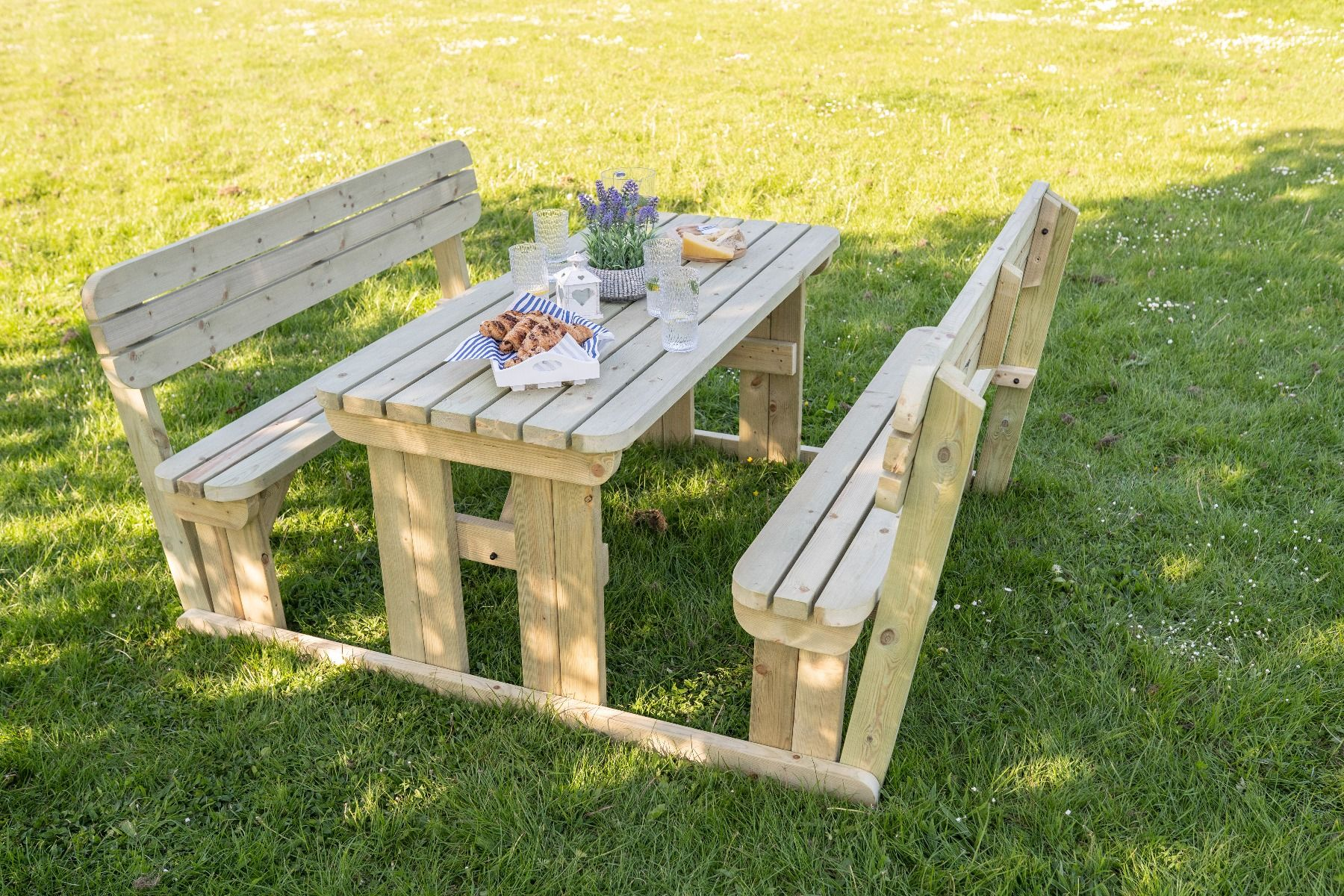 Picture of: Picnic Table And Bench Set Wooden Garden Furniture With Back Rest Alders Round Ebay