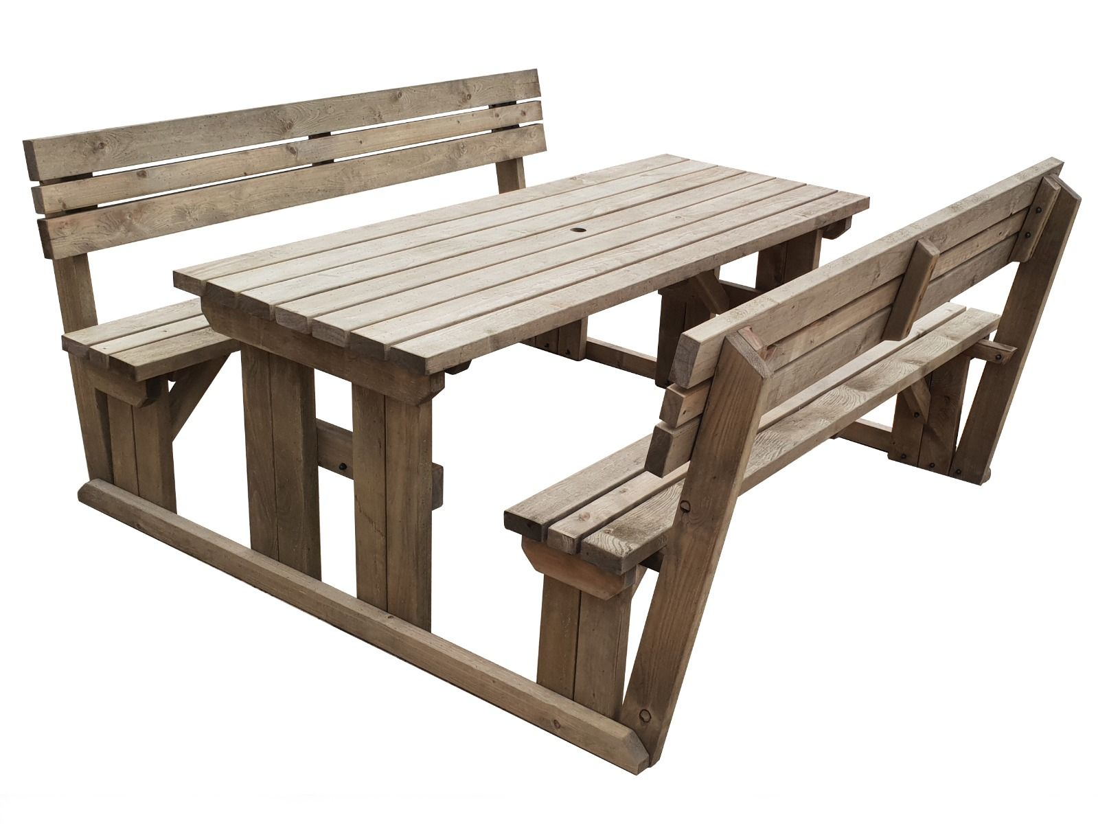 Picnic Table and Bench Set Wooden Garden Furniture with Back Support,  Alders  eBay