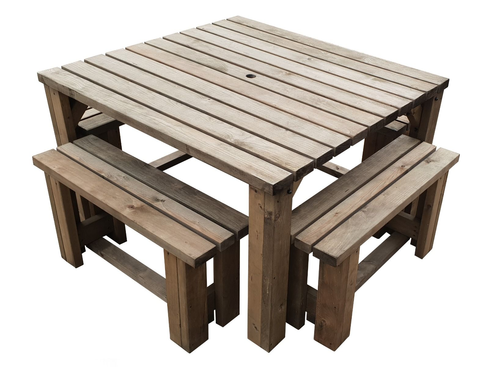 Picnic Table And 4 Bench Set Wooden Outdoor Garden Furniture Quadrum Ebay