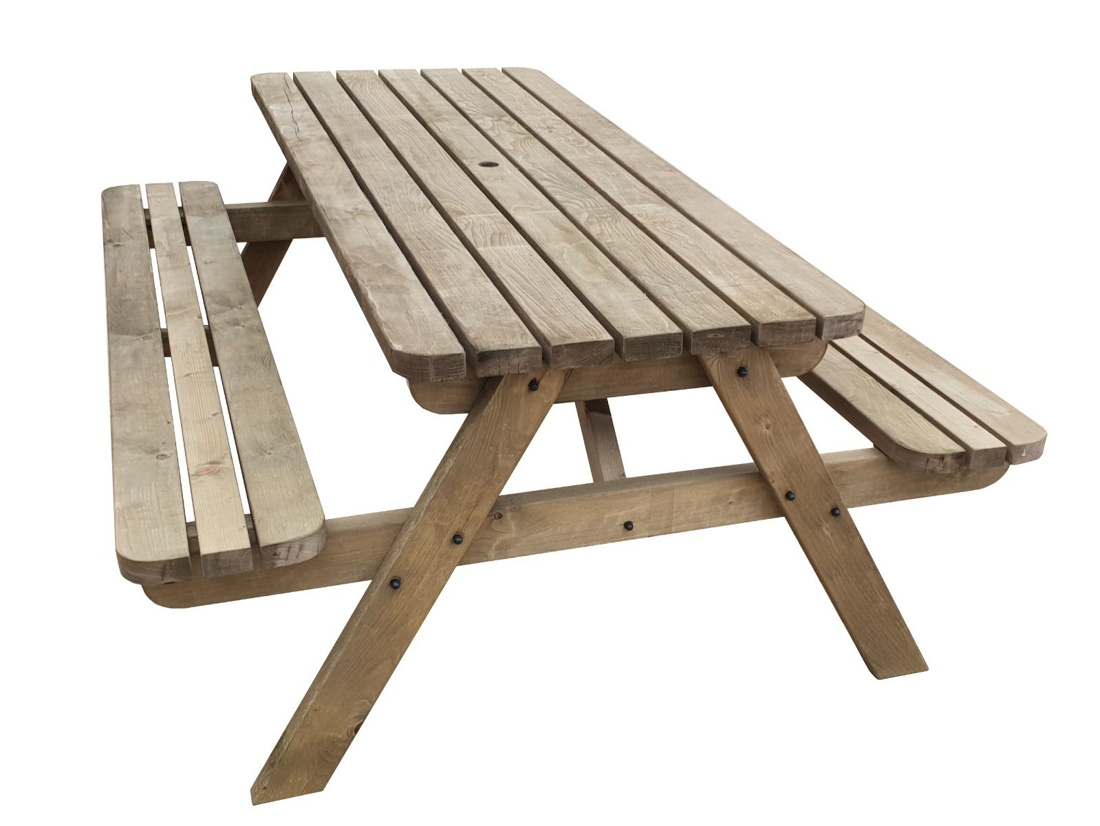 Details about Picnic Table and Bench Wooden Outdoor Garden Pub Style  Furniture, Fortem Rounded