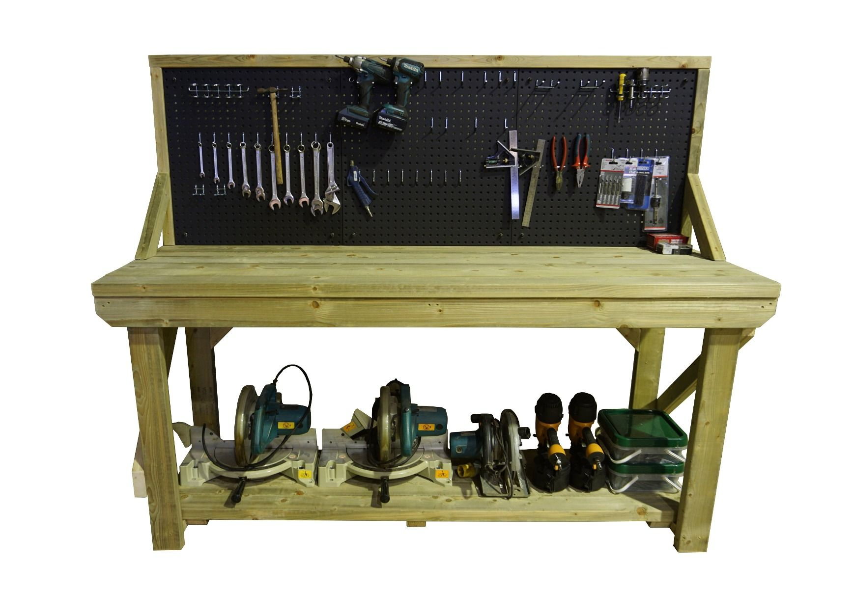 Work Bench With Pegboard Wooden Industrial Garage Heavy ...